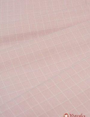 """Пестрядь """"Крупная клетка(20*18 мм) на пыльной розе"""", хлопок-95%, п/э-5%, 1.4 м"""