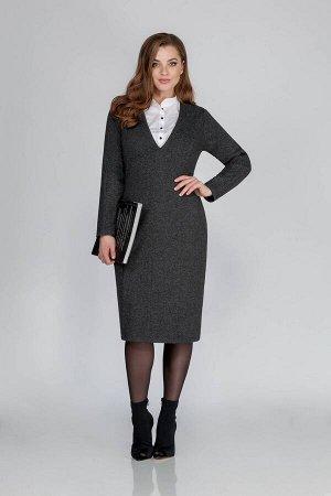 Платье Платье Anna Majewska М-1308  Состав ткани: Вискоза-50%; ПЭ-50%;  Рост: 170 см.  Комфортное женское платье-футляр, выполненное из трикотажного полотна. Вырез горловины V-образной формы с имитац