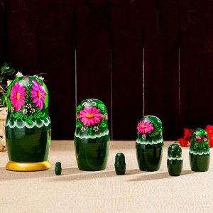 Матрёшка «Хризантема», тёмно-зелёное платье, 7 кукольная, 22 см