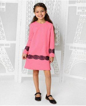 Розовое платье для девочки с гипюром Цвет: розовый