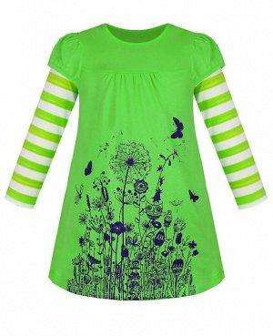 Платье с длинными рукавами для девочки Цвет: зелёный