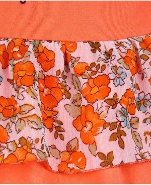Оранжевый сарафан(платье) для девочки соборками Цвет: бирюза