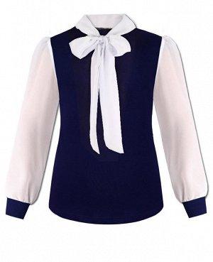 Синяя школьная блузка с шифоном для девочки Цвет: синий