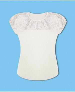 Молочная школьная блузка для девочки Цвет: молочный