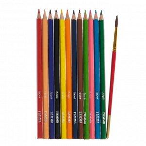 Карандаши цветные акварельные 12 цветов, «Гамма» «Лицей», с кистью, шестигранные