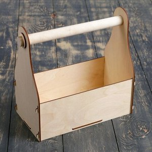 Кашпо деревянное 24.5?13.5?9.5(25) см Стелла Клик, с ручкой, натуральный