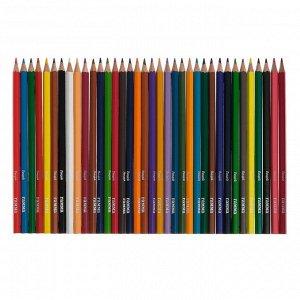 Карандаши цветные акварельные 36 цветов, «Гамма» «Лицей», с кистью, шестигранные