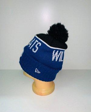 Шапка Сине-черная шапка с помпоном  №3910