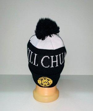Шапка Крутая черная шапка с помпоном  №3909