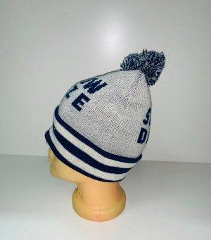 Шапка Сине-белая шапка с помпоном  №3952