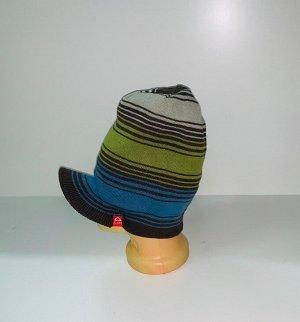 Шапка Оригинальная полосатая шапка с козырьком  №3943