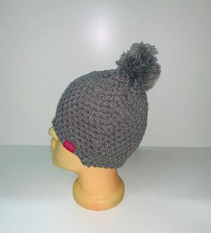 Шапка Серая ажурная шапка с помпоном  №3918