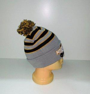 Шапка Крутая полосатая шапка с помпоном  №3902