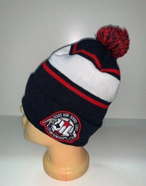 Шапка Темная шапка с полосой и помпоном  №3887