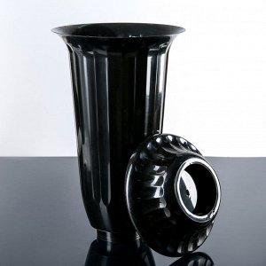 Вазон с подставкой Алеана «Флора», 12 л, h=51 см, цвет чёрный