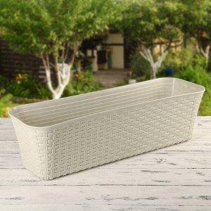 Балконный ящик «Ротанг», 60 см, 12 л, цвет молочный
