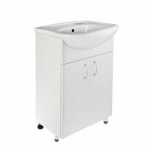Комплект Тумба белая, лдсп, с раковиной Универсал/Арго-50