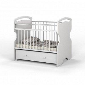 Детская кроватка Elsa на маятнике, с ящиком, цвет белый