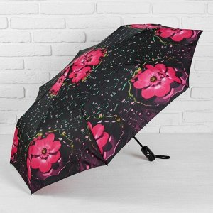 Зонт полуавтоматический «Цветы», 3 сложения, 8 спиц, R = 50 см, цвет чёрный/розовый 2825813