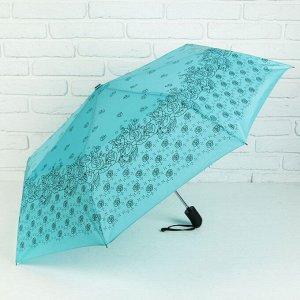 Зонт полуавтоматический «Розочки», 3 сложения, 8 спиц, R = 55 см, цвет бирюзовый 1767871