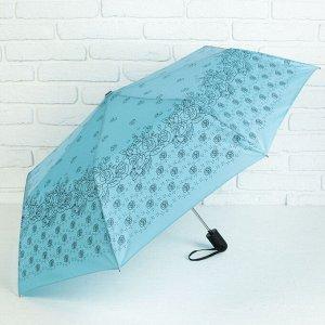 Зонт полуавтоматический «Розочки», 3 сложения, 8 спиц, R = 55 см, цвет голубой 1767870