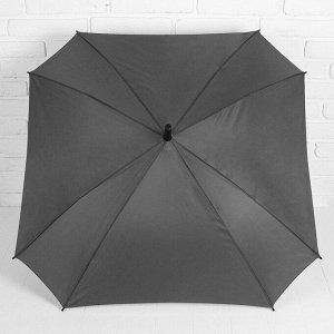Зонт - трость полуавтоматический «Однотонный», прорезиненная ручка, 8 спиц, R = 52 см, цвет серый