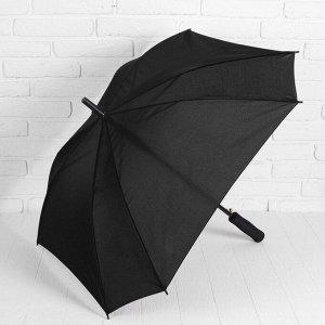 Зонт - трость полуавтоматический «Однотонный», прорезиненная ручка, 8 спиц, R = 52 см, цвет чёрный 4105099