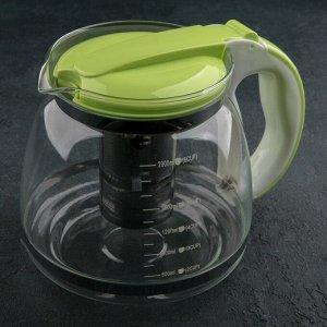 Чайник заварочный с металлическим ситом «Наслаждение», 2 л, цвет МИКС