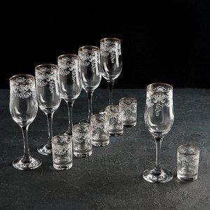 Набор подарочный «Лилия», 12 предметов: 6 бокалов 200 мл, 6 стопок 50 мл, гравировка, отводка золотом