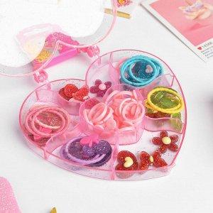 """Комплект детский для создания колец + 2 резинки """"Ассорти"""" блёстки, форма МИКС, цвет МИКС"""