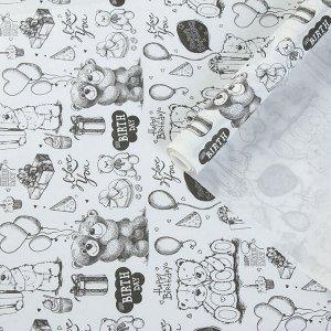 """Бумага упаковочная крафт """"Белые мишки"""", 0,72 х 10 м, 40 г/м?"""