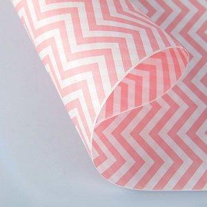 """Бумага упаковочная крафт """"ЗигЗаг розовый"""", 0,5 х 10 м, 70 гр/м2"""