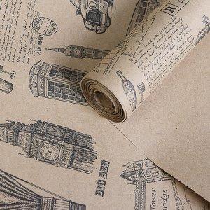 """Бумага упаковочная крафт """"Британия"""", 0,72 х 10 м, 70 г/м?"""