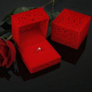 """Футляр под кольцо """"Резной куб"""", 6*6, цвет красный"""