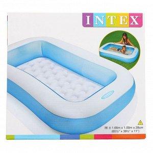 Бассейн надувной, прямоугольный, 166 х 100 х 25 см, от 2 лет, 57403NP INTEX