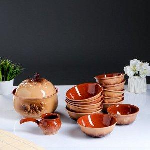 """Набор посуды """"Луговой"""" 14 предметов: 3,0/0,6/0,4/0,3 л"""
