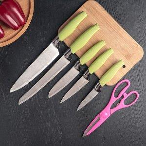 Набор кухонный, 6 предметов: 5 ножей 8,5 см, 12 см, 12 см, 19,7 см, 19 см, ножницы, цвет МИКС
