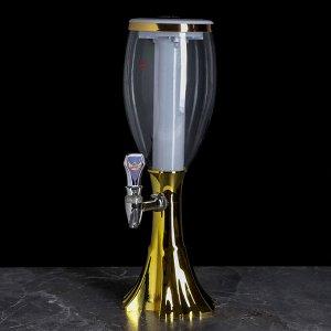 Башня пивная Gold, 2 л, колба с подсветкой, цвет золотой