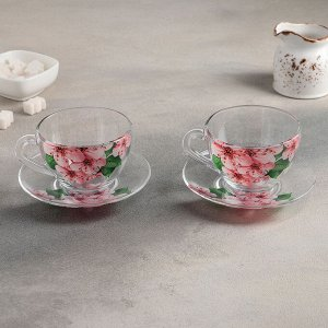 Набор чайный подарочный на 2 персоны Декостек «Дуэт. Сакура»: 2 чашки 200 мл, 2 блюдца