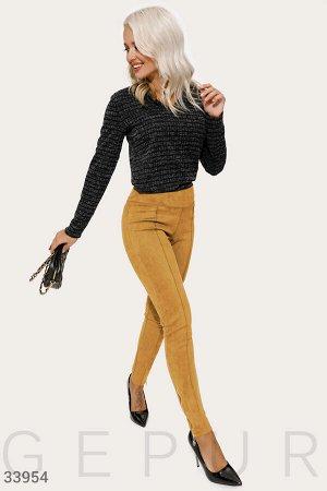 Замшевые яркие брюки