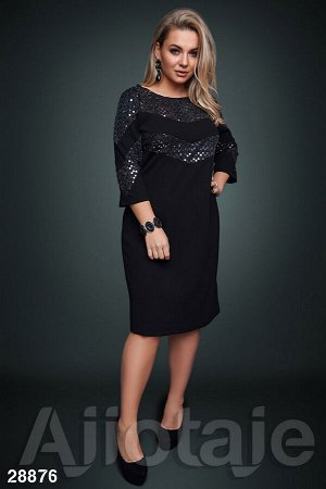 Платье миди с пайетками черного цвета