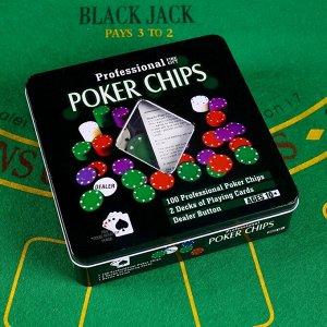 Покер, набор для игры (карты 2 колоды микс, фишки 100 шт), без номинала 20х20 см