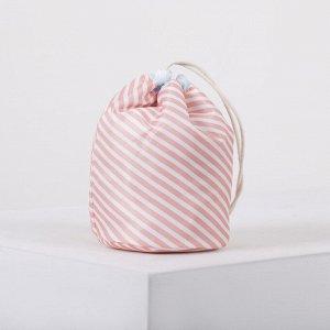 Косметичка дорожная, отдел на шнурке, с кошельком, цвет розовый