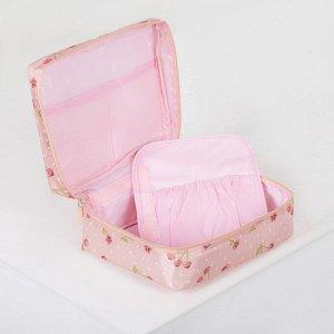 Косметичка дорожная, отдел с карманами на молнии, цвет розовый