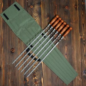 Набор 6 шампуров 50 см, в зеленом чехле