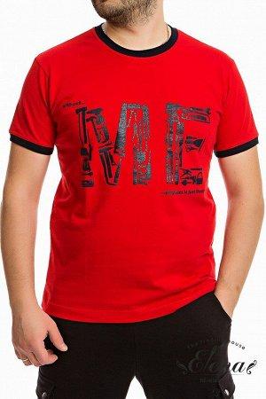 Футболка Мужская футболка с планкой по горловине и коротким рукавам, выполнена из хлопкового полотна ярких расцветок. Спереди расположен оригинальный принт. Размерный ряд: 44-62. Состав Хлопок 100% Ар