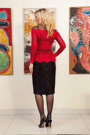 Костюм Костюм Azzara 611К  Сезон: Осень-Зима Рост: 170  Комплект женский, состоит из юбки и блузки. Блузка из мягкого трикотажного кружева с подкладкой, прилегающего силуэта, изделие отрезное по лини