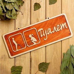 "Табличка 2-слойная ""Туалет 2"", 30х12см МИКС"