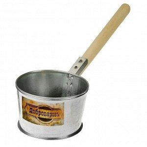 """Ковш для бани из оцинкованной стали, 1.2л, 45 см, с деревянной ручкой, """"Добропаровъ"""""""