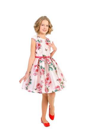 Платье Артикул: СС-П-1808; Цвет: Розовый Скачать таблицу размеров                                                 Нарядное платье с принтом в стиле «дольче габбана» выполнено из шелковой тафты, на по